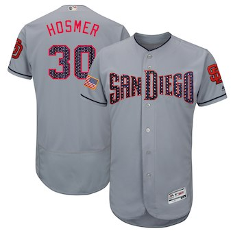 San Diego Padres 30 Eric Hosmer Majestic Gray 2018 Stars & Stripes Flex Base Player Jersey