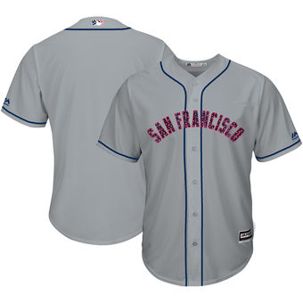 San Francisco Giants Majestic Blank Gray 2018 Stars & Stripes Cool Base Team Jersey