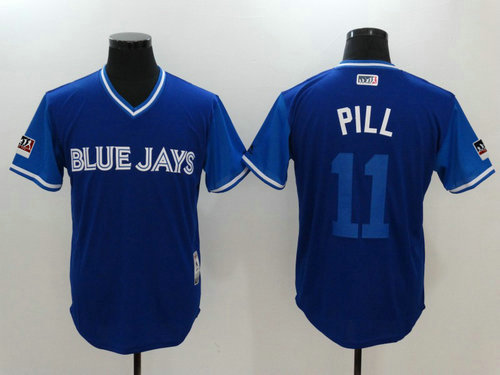Toronto Blue Jays 11 Kevin PillarPill Majestic Royal 2018 Players Weekend Authentic Jersey