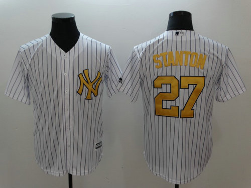 Yankees 27 Giancarlo Stanton White Gold Cool Base Jersey