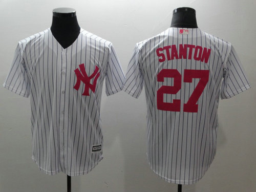 Yankees 27 Giancarlo Stanton White Pink Cool Base Jersey