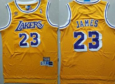 Los Angeles Lakers #23 Lebron James Yellow Hardwood Classics Jersey