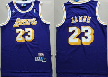 Los Angeles Lakers #23 Lebron James Purple Hardwood Classics Jersey