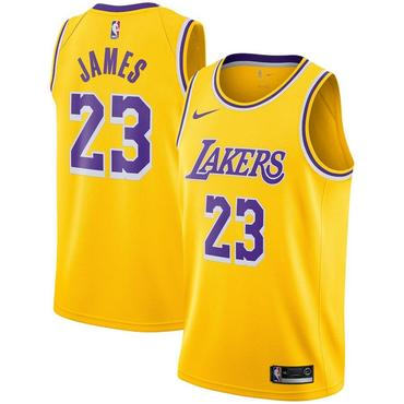 Kids Nike Los Angeles Lakers #23 LeBron James Purple Number Yellow Stitched NBA Jersey