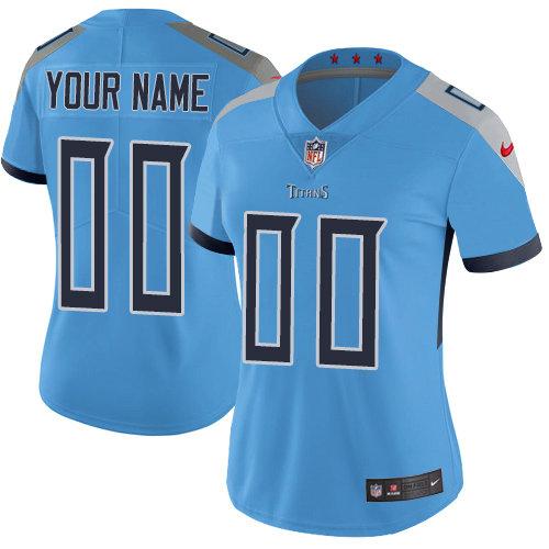 Women's Nike Tennessee Titans Light Blue Alternate Customized Vapor Untouchable Limited NFL Jersey