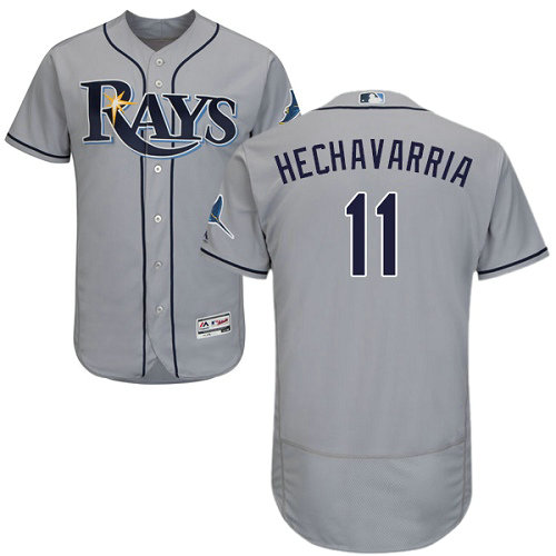 Tampa Bay Rays #11 Adeiny Hechavarria Grey Flexbase Authentic Collection Stitched Baseball Jersey
