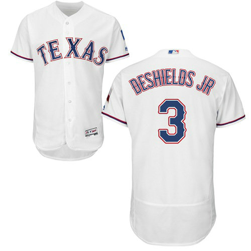 Texas Rangers #3 Delino DeShields Jr. White Flexbase Authentic Collection Stitched Baseball Jersey