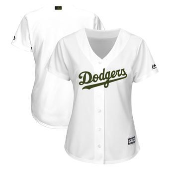 a87293950ba9 Women's Los Angeles Dodgers Majestic White 2018 Memorial Day Cool Base Team Custom  Jersey