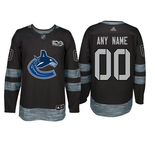 Adidas Vancouver Canucks Black 1917-2017 100th Anniversary Stitched NHL Custom Jersey
