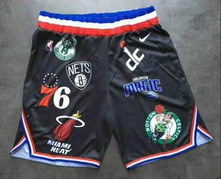 Supreme X Nike X NBA Logos Stitched Basketball Black Shorts