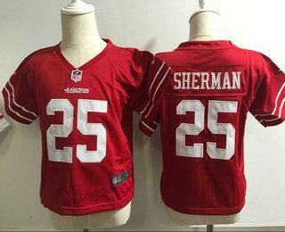 Toddler San Francisco 49ers #25 Richard Sherman Scarlet Red Team Color Stitched NFL Nike Game Jersey
