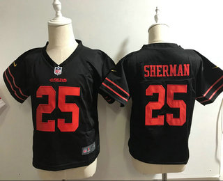 Toddler San Francisco 49ers #25 Richard Sherman Black Alternate Stitched NFL Nike Game Jersey