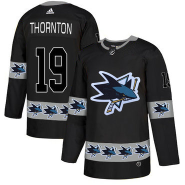 Men's San Jose Sharks #19 Joe Thornton Black Team Logos Fashion Adidas Jersey