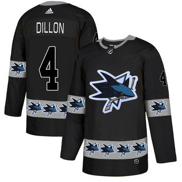 Men's San Jose Sharks #4 Brenden Dillon Black Team Logos Fashion Adidas Jersey