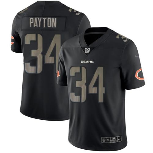 Nike Bears #34 Walter Payton Black Men's Stitched NFL Limited Rush Impact Jersey