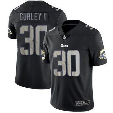 Nike Rams #30 Todd Gurley II Black Men's Stitched NFL Limited Rush Impact Jersey