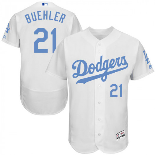 Men's Los Angeles Dodgers #21 Walker Buehler Player Authentic White Flex Base Father's Day Collection Jersey