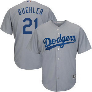 Men's Los Angeles Dodgers #21 Walker Buehler Player Replica Gray Cool Base Road Jersey