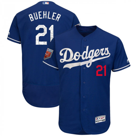 Men's Los Angeles Dodgers #21 Walker Buehler Player Authentic Royal Flex Base 2018 Spring Training Jersey
