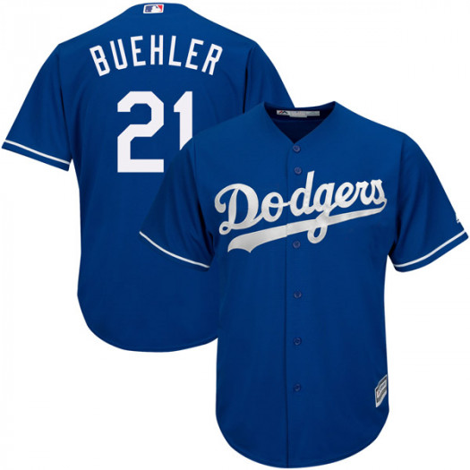 Men's Los Angeles Dodgers #21 Walker Buehler Player Replica Royal Cool Base Alternate Jersey