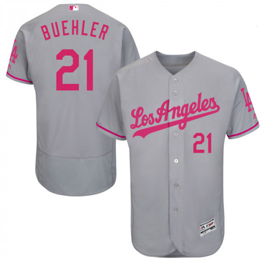 Men's Los Angeles Dodgers #21 Walker Buehler Player Authentic Gray Flex Base Mother's Day Collection Jersey