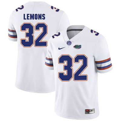 Florida Gators White #32 Adarius Lemons Football Player Performance Jersey