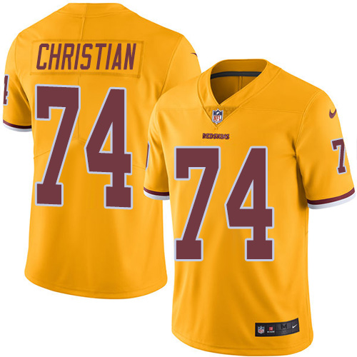 Nike Washington Redskins #74 Geron Christian Gold Men's Stitched NFL Limited Rush Jersey
