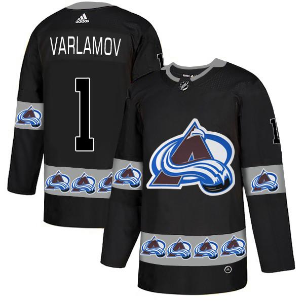 Men's Colorado Avalanche #1 Semyon Varlamov Black Team Logos Fashion Adidas Jersey