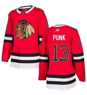 Men's Chicago Blackhawks #13 CM Punk Red Drift Fashion Adidas Jersey