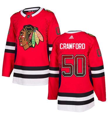 Men's Chicago Blackhawks #50 Corey Crawford Red Drift Fashion Adidas Jersey