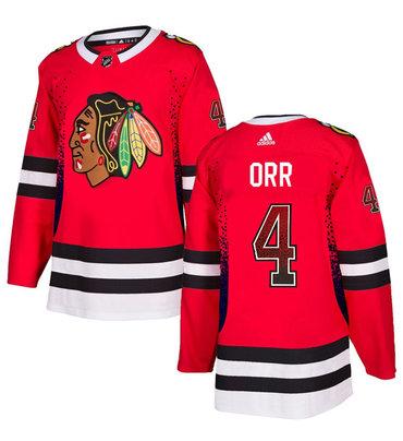 Men's Chicago Blackhawks #4 Bobby Orr Red Drift Fashion Adidas Jersey