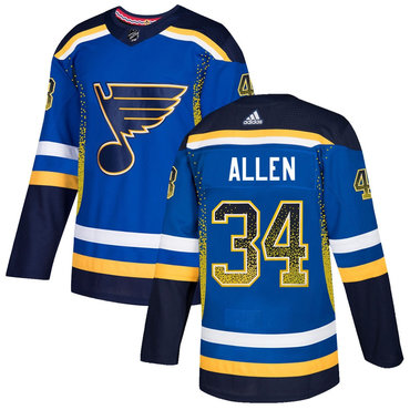 Men's St. Louis Blues #34 Jake Allen Royal Drift Fashion Adidas Jersey