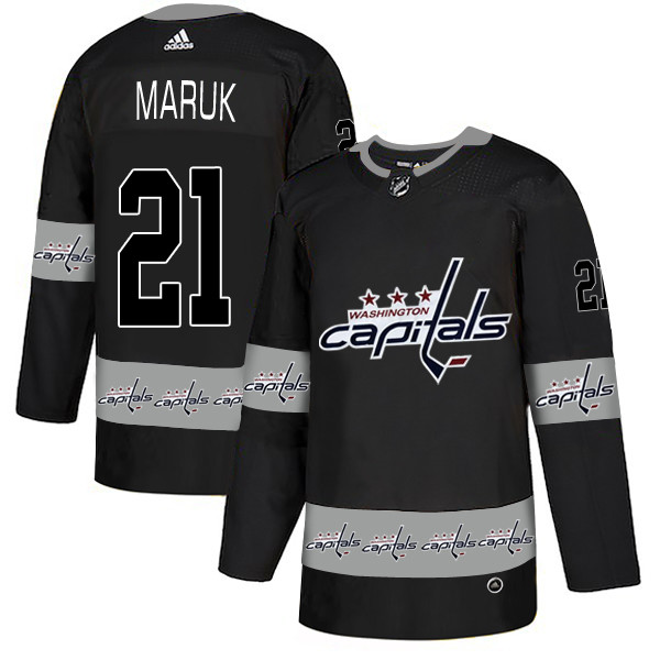 Men's Washington Capitals #21 Dennis Maruk Black Team Logos Fashion Adidas Jersey