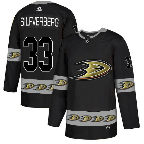 Men's Anaheim Ducks #33 Jakob Silfverberg Black Team Logos Fashion Adidas Jersey