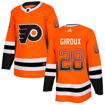 Men's Philadelphia Flyers #28 Claude Giroux Orange Drift Fashion Adidas Jersey