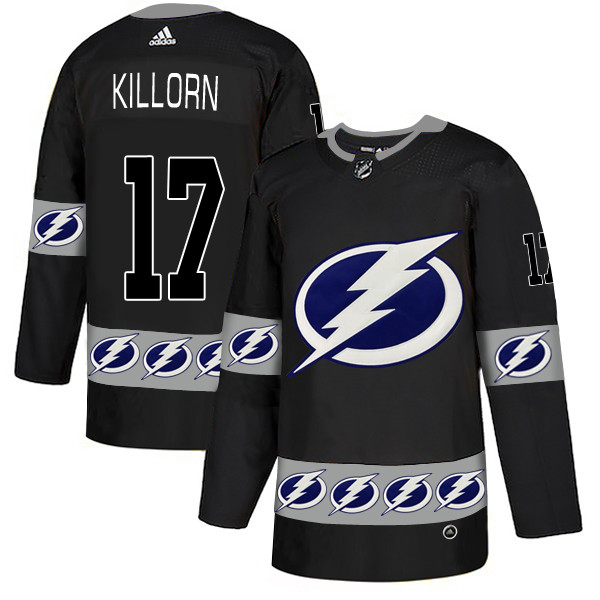 Men's Tampa Bay Lightning #17 Alex Killorn Black Team Logos Fashion Adidas Jersey