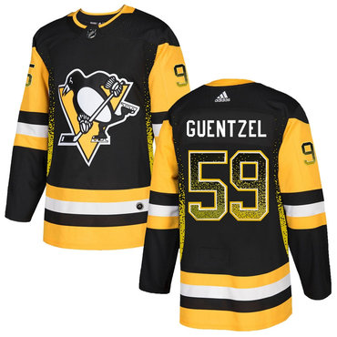 Men's Pittsburgh Penguins #59 Jake Guentzel Black Drift Fashion Adidas Jersey