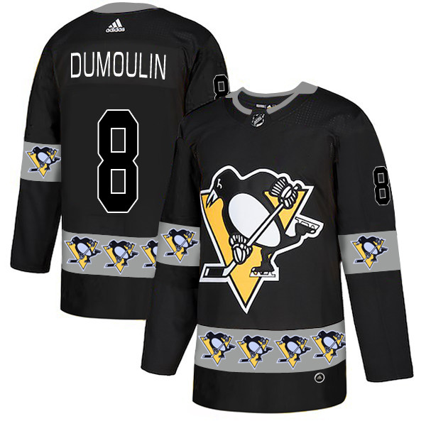 Men's Pittsburgh Penguins #8 Brian Dumoulin Black Team Logos Fashion Adidas Jersey