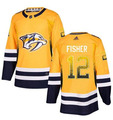 Men's Nashville Predators #12 Mike Fisher Gold Drift Fashion Adidas Jersey