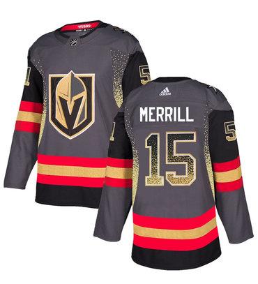 Men's Vegas Golden Knights #15 Jon Merrill Gray Drift Fashion Jersey