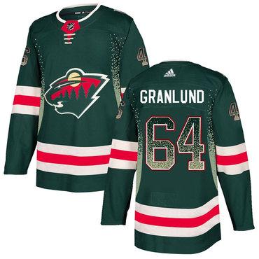 Men's Minnesota Wild #64 Mikael Granlund Green Drift Fashion Adidas Jersey