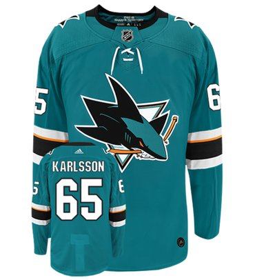 Adidas San Jose Sharks #65 Erik karlsson Teal Home Authentic Stitched NHL Jersey