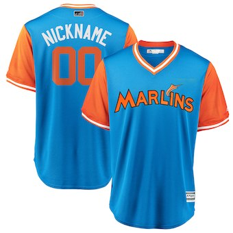 Men's Miami Marlins Majestic Light Blue 2018 Players' Weekend Cool Base Custom Jersey