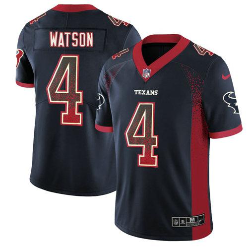 Men\'s Nike Houston Texans #4 Deshaun Watson Navy Blue Team Color Stitched NFL Limited Rush Drift Fashion Jersey