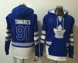 Men's Toronto Maple Leafs #91 John Tavares Royal Blue Pocket Stitched NHL Old Time Hockey Pullover Hoodie