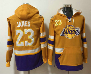 Men's Los Angeles Lakers #23 LeBron James Yellow Pocket Stitched NBA Pullover Hoodie