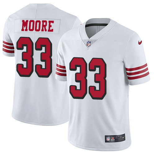 Youth Nike 49ers 33 Tarvarius Moore White Rush Stitched NFL Vapor Untouchable Limited Jersey