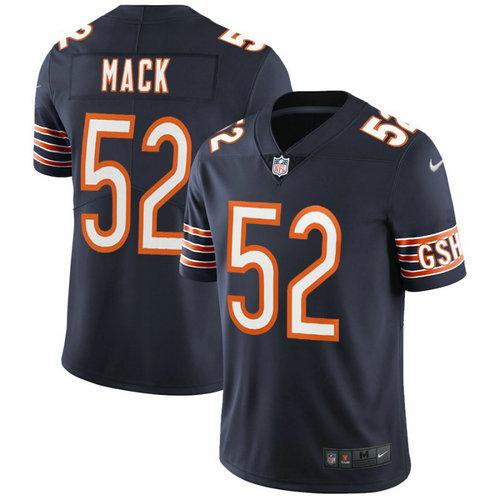 Kids Nike Bears 52 Khalil Mack Navy Blue Team Color Stitched NFL Vapor Untouchable Limited Jersey