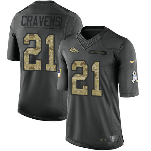 Youth Nike Broncos 21 Su'a Cravens Black Stitched NFL Limited 2016 Salute to Service Jersey