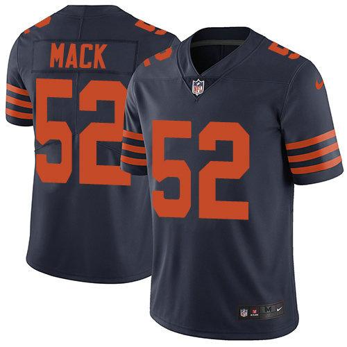 Youth Nike Bears 52 Khalil Mack Navy Blue Alternate Stitched NFL Vapor Untouchable Limited Jersey